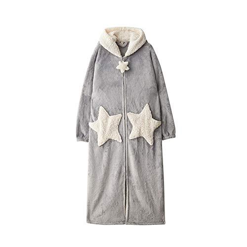 Damen Morgenmantel Extra Lang Flauschig mit Kapuze Bademantel Plüsch Shaggy Flanell Microfaser Fleece Winter Cozy Warm Weich Bodenlang Loungewear Grey Stars-Medium