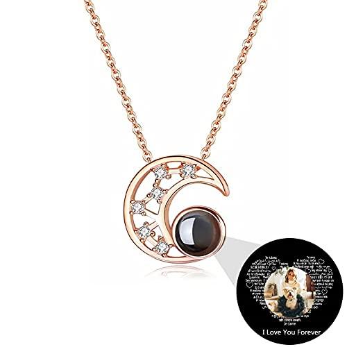 Collar Día de la Madre Colgante Estrella&Luna Collar de Proyección Collar Foto Personalizado Collar 100 Lenguas Te Amo(Color oro rosa 14)