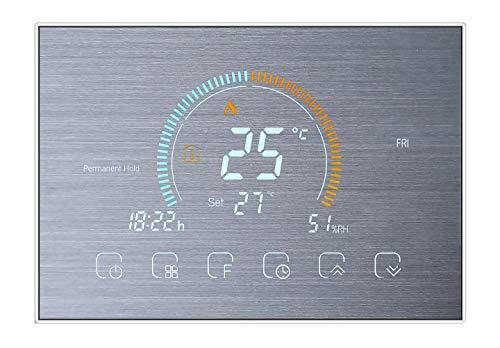 Qiumi Smart Wifi Thermostat Programmierbarer Wasserthermostat Anzeige Wetter, UV-Index, Luftfeuchtigkeit Kompatibel mit Alexa Google Home, 5A 95~240V AC (Wandmontage)