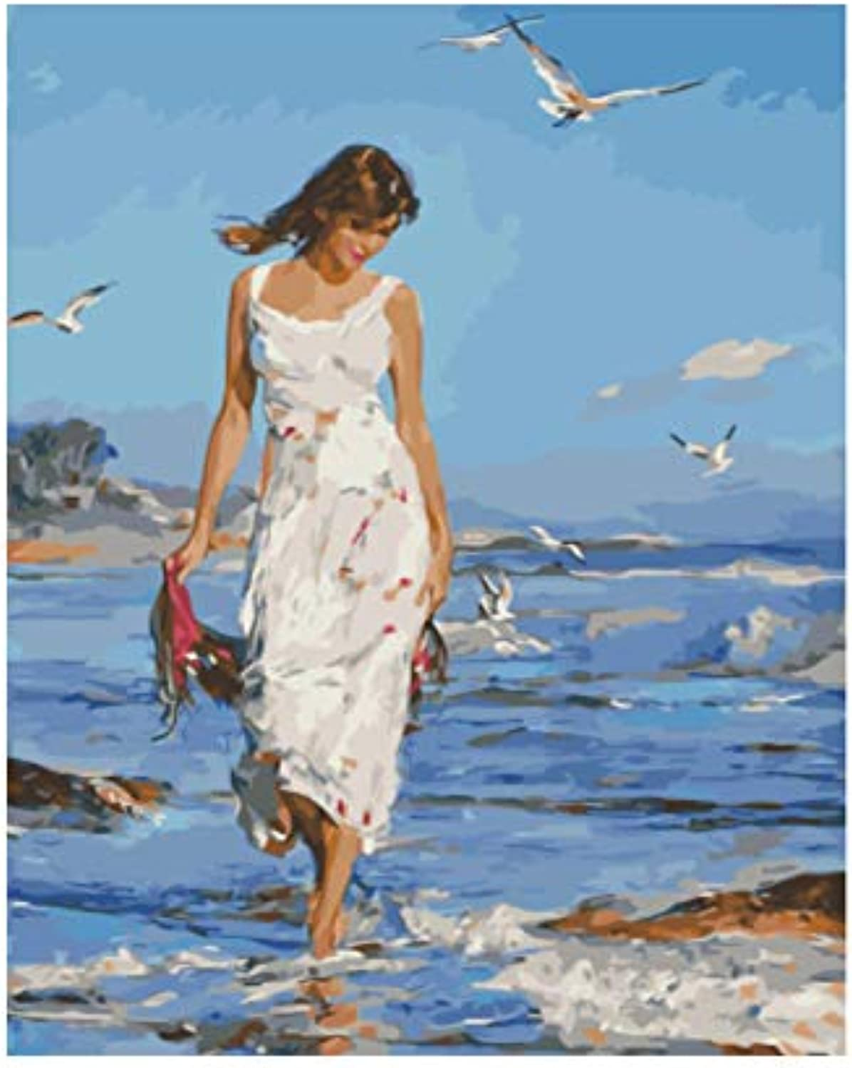 CAYYOU DIY picture oil painting by numbers wall decor painting on canvas for home decor walking on the beach, Framed, 50x60cm
