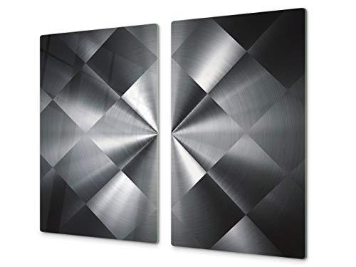 Planche à découper en verre trempé – Couvre-cuisinière et protège-plain de travail en verre résistant – UNE PIÈCE (60x52 cm) ou DEUX PIÈCES (30x52 cm chacune); D01 Série Abstract: Texture 52
