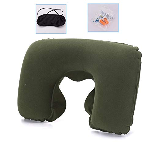 HOSD headrest Pillow PVC Flocking Sleeping U-Shaped Pillow Inflatable Pillow