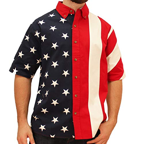 Price comparison product image Men's Half Stars Half Stripes American Flag Woven Polo Shirt (Small)