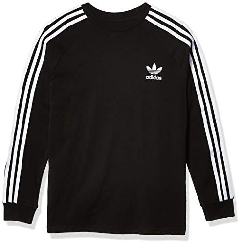 adidas Originals unisex-youth 3-Stripes Tee Black/White Large