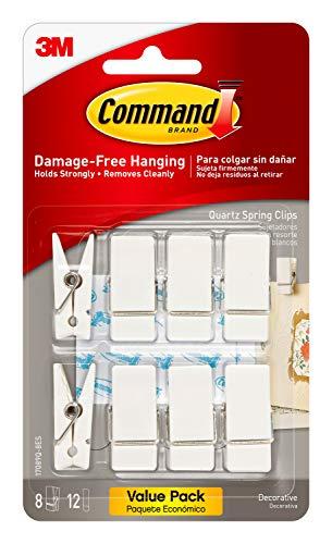 Command Spring Clips, Quartz, 8-Clips, 12-Strips, Decorate Damage-Free