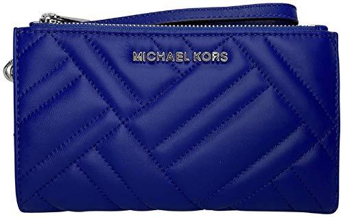 MICHAEL Michael Kors Peyton Quilted Double Zip Wallet Wristlet Ultrasoft Quilted Leather, Hardware details in silver, Snap Closure, Double Zip Tops on both sides Interior : 6 Credit Card Slots, ID Window, Phone Slot, and billfold compartments Matchin...