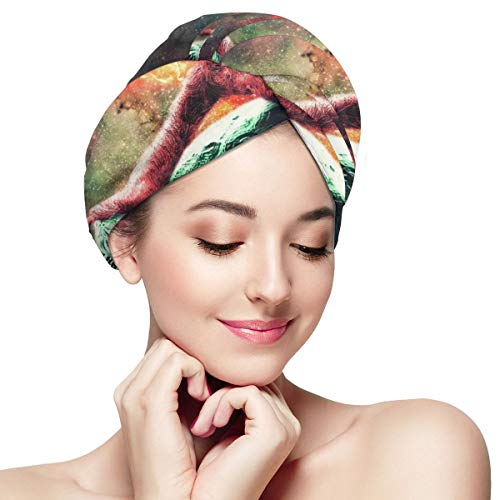 Space Sloth Riding Turtle Dry Hair Cap Microfibre Hair Towel Wraps Ultra Absorbent Quick Dry Twist Turban with Button for Drying Curly Long Thick Hair 11¡± X 28¡±