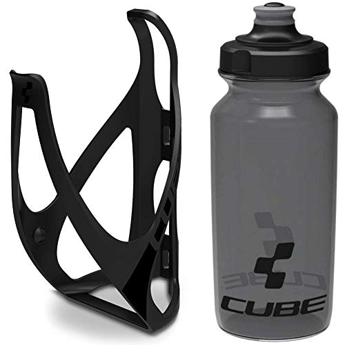 Cube HPP Cage - Stealth Black & Icon Bottle - Black, 750ml / Water Drink Flask Vessel Bidon Holder Mount Bracket Kit Lightweight Plastic Drinking Hydration Biking Bike Riding Frame Accessories