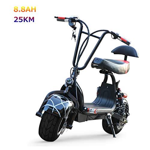 JCOCO Scooter Electrico Moto, Bicicleta eléctrica Harley, Motor de 800 W, Sistema de Freno de Doble Disco, batería de Litio Desmontable de 48 V, Scooter Eléctrico Plegable para Adultos