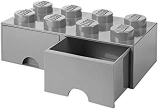 LEGO 40061740 Caja de Almacenaje Apilable con 2 Cajones, Ladrillo 8 pomos, 9.4 l, Gris (Medium Stone Grey), 50 x 25 x 18 cm