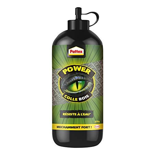 Pattex Power - Pegamento para madera, adhesivo fuerte para madera, apto para interiores y exteriores, color arena, pegamento transparente para secado y resistente al agua, 225 g