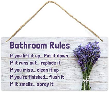 Fun Plus Lavender Bathroom Decor 12 x6 PVC Plastic Wall Decoration Hanging Sign High Precision product image