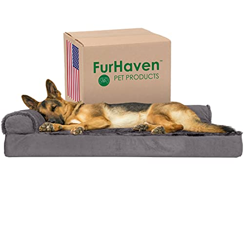 Furhaven Orthopedic Pet Bed for Dogs and Cats - L Chaise Sofa Plush Fur and Velvet Couch Dog Bed with Removable Washable Cover, Platinum Gray, Jumbo (X-Large)
