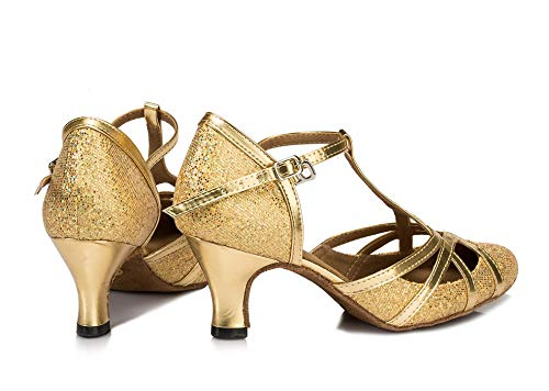 Minitoo qj6133Damen Geschlossen Zehen High Heel PU Leder Glitzer Salsa Tango Ballsaal Latin t-strap Dance Schuhe, Gold Gold-6cm Heel ,42 EU/8 UK - 3