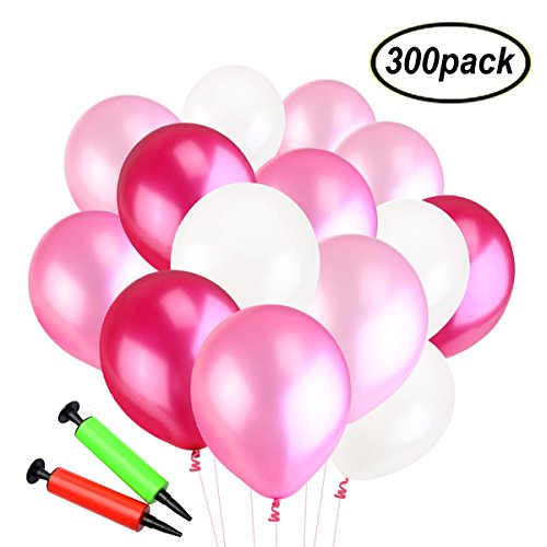 SWZY Luftballons mit Pumpe, 300 Latexballons und 2 Ballonpumpe, Farbige Ballons, Bunte Ballons für Geburtstagsfeiern, Party, Hochzeitsfeiern (Rot / Rosa / Weiß)