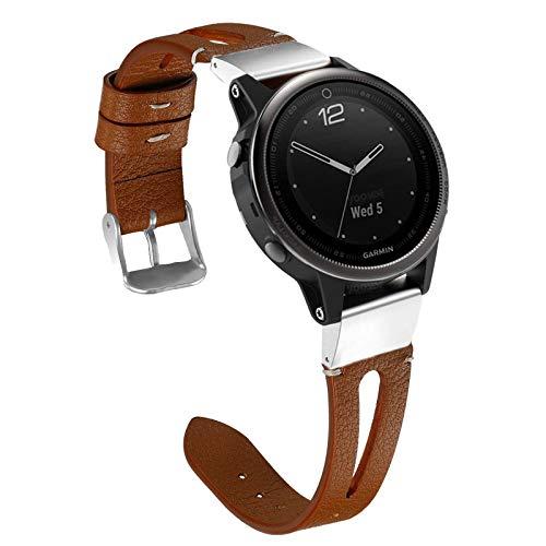 YOOSIDE Fenix 5S/Fenix 6S Armband, Echtleder+Edelstahl QuickFit Armband Ersatzarmband Uhrenarmband für Garmin Fenix 5S Plus,Fenix 6S Pro/Sapphire,Braun