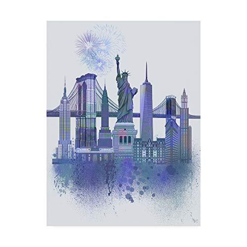 Trademark Fine Art New York Skyline Watercolor Splash Blue by Fab Funky, 14x19