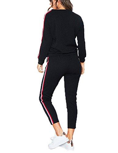 SOMTHRON Mujer Conjunto de chándal de Mujer otoño Invierno con 2 Rayas Mangas largas + Pantalones Traje Deportivo Casual Gimnasio Vida Cotidiana