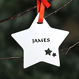 Customer reviews Personalised Custom White Christmas Tree Star Bauble Festive Decoration Ornament Decorations Best Balls Personalise Name with Handmade Xmas .o. - Speedy Despatch dispatch Fast & Free UK Delivery:Eventmanager