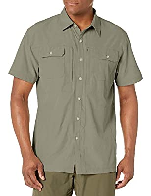 Little Donkey Andy Men's Lightweight Short Sleeve Shirt Quick Dry Stretch Shirt for Hiking Travel, UPF50 Sage Size L