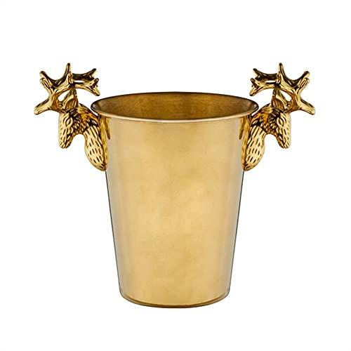 HTL Bucket de Hielo de Acero Inoxidable Útil, Contenedor de Hielo con Aislamiento de Doble Pared de Hielo Cubo de Bebidas Retro de Transporte de Mano para Party Bbq Bar de Picnic,Dorado,20X23Cm (8X9I