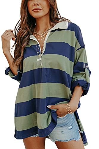 Womens Casual Oversized Polo Shirt Loose Long Sleeve Striped Buttoned Blouse Tops Green