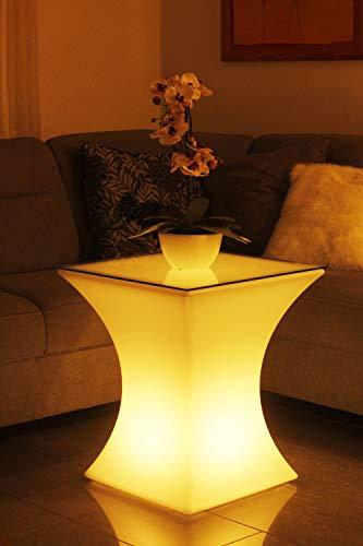 Arnusa LED Tisch 62x53 cm Beistelltisch Loungetisch Couchtisch Modern beleuchtet