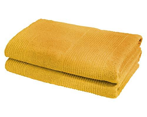 2 Toallas de baño grande amarilla para ducha 70cm x 140cm)