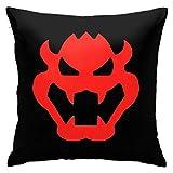 Woidxzxza S-uper M-Ario Bowser Icon Square Pillowcase Case Throw Pillowcase Sofa Cushion Car Cushion Indoor Decorations Chair Pillowcase