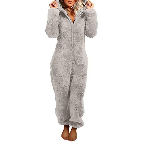Damen Schlafanzug Jumpsuit Teddy Fleece Reißverschluss Einteiler Overall mit Kapuze Warme Weich Flauschig Onesie Pyjama (Grau, M)