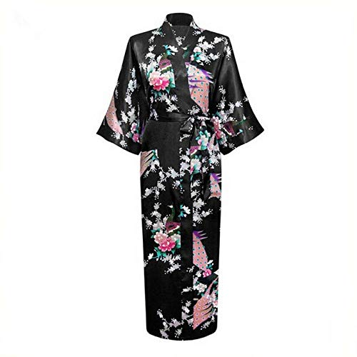 Estilo Largo Flojo del Pavo Real Japonesa Mujer De Raso Yukata Dormir Vestido Kimono Oriental Haori Qipao Chino Camisón Robe Zzzb (Color : Black, Size : XXXL)