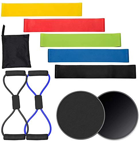 Wrzbest Core Slider Discs Double-Sided Sliding Discs Workout Sliders Resistance Loop Body Gym Exercise Sliders Yoga Bands - Strength, Stability for Home,Gym,Physical Therapy