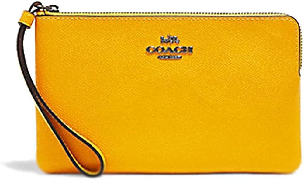 Coach Women's Large Corner Zip Wristlet in Crossgrain Leather