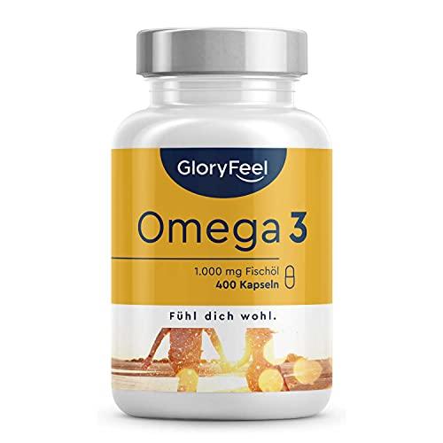 Omega 3 (400 Kapseln) - 1.000mg Fischöl Hochdosiert pro Kapsel - Essentielle Omega 3 Fettsäuren EPA + DHA - Nachhaltiger Fischfang, Laborgeprüft, ohne Zusätze in Deutschland hergestellt