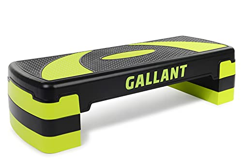 Gallant Aerobic Step - Height Adjustable Exercise Stepper   3x Height Level 10cm, 15cm & 20cm Steps Raise Platform Steppers Board Box Block   Excellent Home Gym Fitness Workout Equipment Bench - Green
