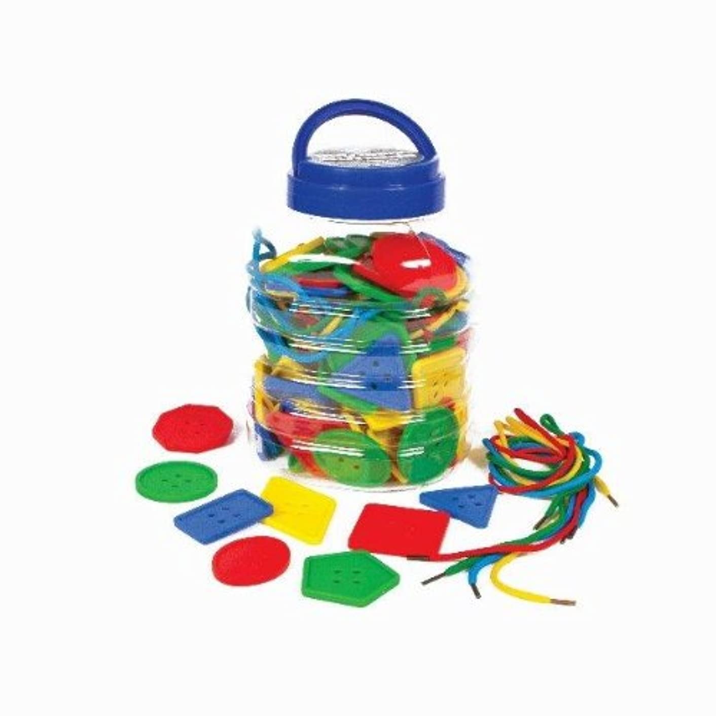 Play & Discover Colossal Buttons   8 Shapes   4 Colours   16 Laces   Jar , Pack of 120 Approximately