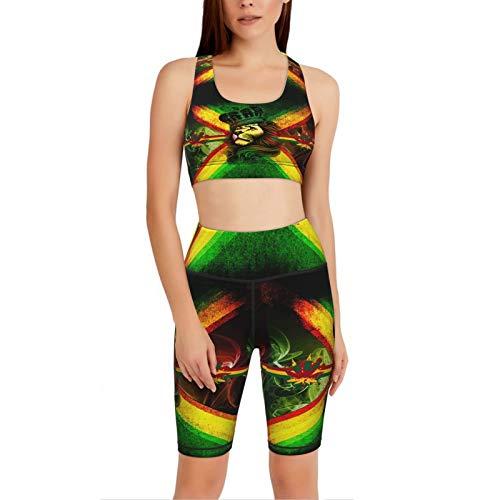 Carwayii Jamaican Flag King Rasta Lion Yoga Set 2 Piece Sport Bra Top And Shorts Legging Tracksuit For Women