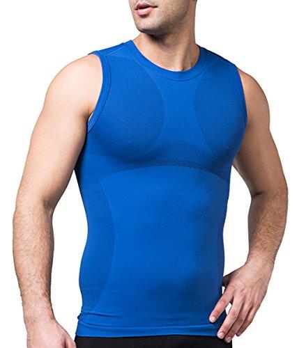 SodaCoda Sodacoda Herren Base-Layer Muskel Shirt - Gym Freizeit Tank Top Ärmellos (Blau, S)