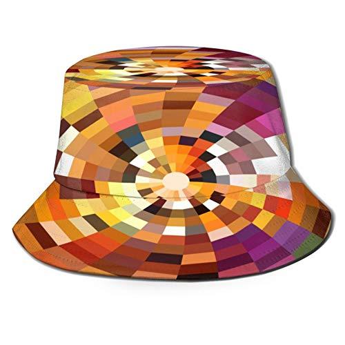 Yoliveya Sombrero de Pesca,Fondo de Vector Abstracto Rayos radiales,Senderismo para Hombres y Mujeres al Aire Libre Sombrero de Cubo Sombrero para el Sol