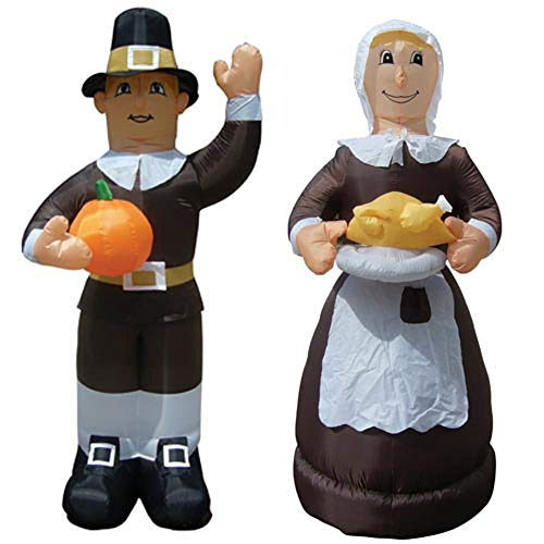Air Blown Inflatable Thanksgiving Pilgrim Amish Man & Woman Combo Pack Yard Decoration