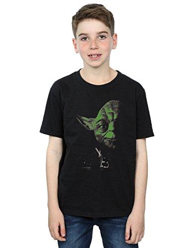 Star Wars niños Yoda Green Face Camiseta 9-11 Years Negro