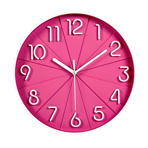 CFSAFAA Reloj de Pared Moda Stere Reloj de Silencio Dormitorio Cuarzo Creativo Reloj Reloj colgado en la Pared (Color : Pink)