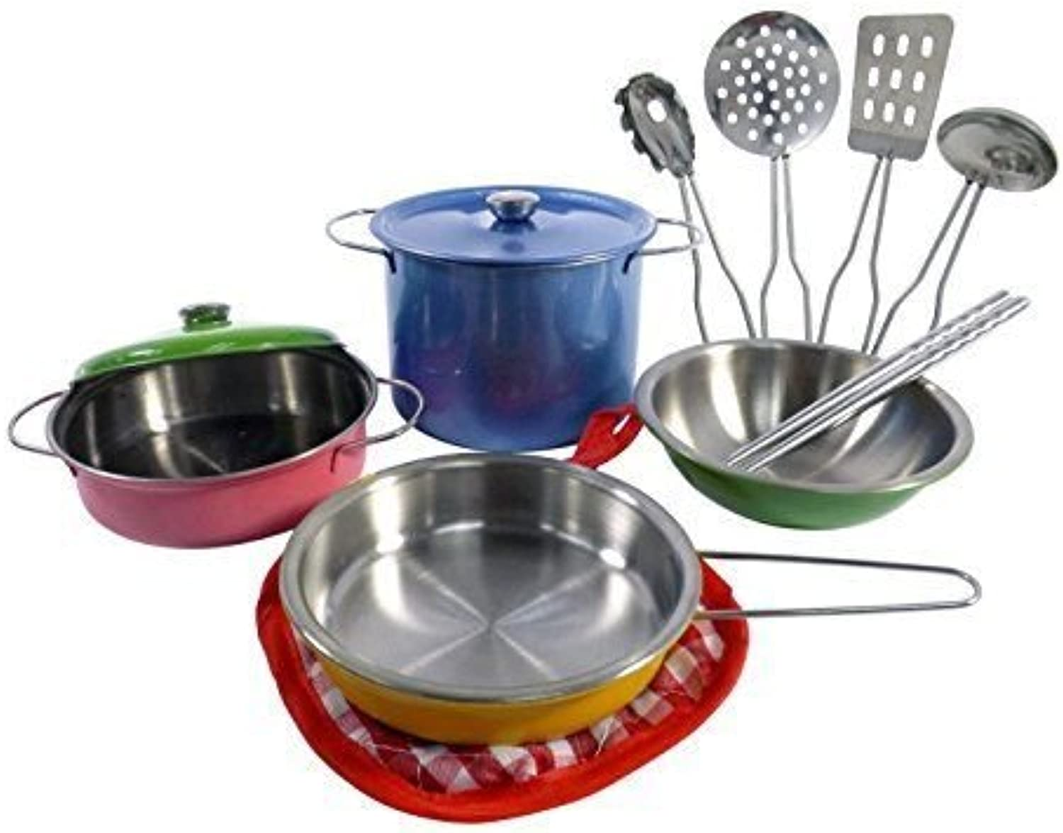 BooTool(TM) colorful Metal Pots and Pans Kitchen Cookware Playset for Kids with Cooking