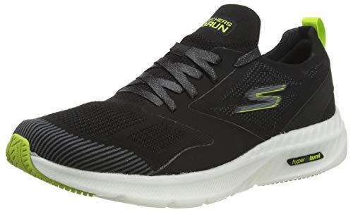 Skechers Go Run Hyper Burst, Zapatillas Hombre, Multicolor (Black/White & Lime Trim), 42 EU