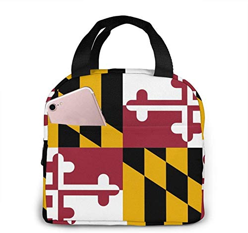 Maryland Flags Lunch Bag Cooler Bag Adult Tote Bag Insulated Lunch Bag Water-Resistant Thermal Lunch Bag Soft Liner Lunch Bags for Picnic/Boating/Beach/Fishing/Work