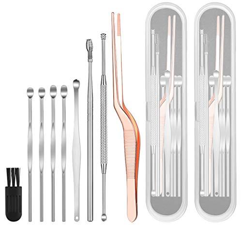 Yueser 2 Set Kits de Eliminación de Cerumen Acero Inoxidable Herramientas de Eliminación de Cerumen con Caja de Almacenamiento y Cepillo de Limpieza
