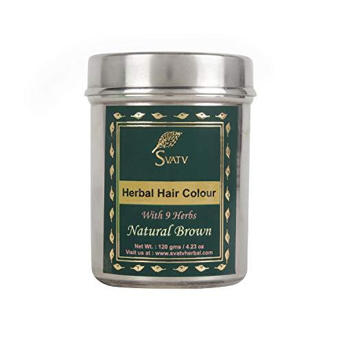 SVATV :: Tinte/tinte de pelo de henna con 9 hierbas - 120 gramos - Henna para el cabello, color de cabello natural - Color de cabello sin químicos (120 g, marrón natural)
