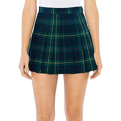 American Apparel Women's Plaid Tennis Skirt, Green Plaid, Small