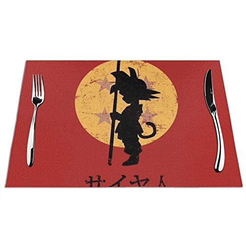 VOROY Dragon Ball Z Sungoku manteles individuales lavables mesa de comedor manteles...