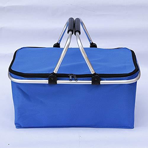 MiduoHu Cesta térmica para Picnic Aluminio para Camping Playa Compra - Nevera portátil para Transporte de Comida y Bebida (Color : Blue)